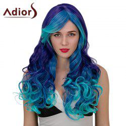 Adiors Hair Long Side Part Wavy Synthetic Cosplay Wig - BLUE + PURPLE