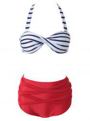 Stripe High Waisted Twist Bandeau Bikini Set