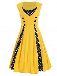 Polka Dot Sleeveless A Line Midi Dress - YELLOW