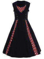 Polka Dot Sleeveless A Line Dress