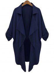 Lapel Neck Long Sleeve Solid Color Trench Coat - CADETBLUE