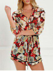 V Neck Tie Front Floral Romper with Sleeves
