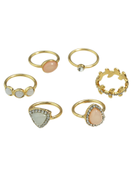 Rhinestone Faux Opal Water Drop Rings -