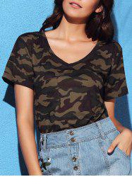 Fashion V-Neck Short Sleeve Camo Print Women's T-Shirt