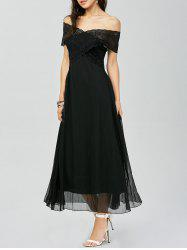 Off Shoulder Lace Panel Maxi Prom Dress
