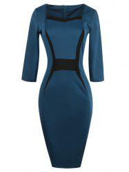 Contrast Insert Slit Bodycon Dress With Sleeves - TURQUOISE
