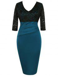 Lace Panel High Waisted Bodycon Dress - BLACK L