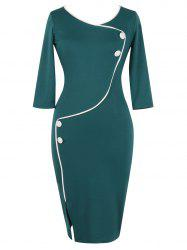 Button Design Fitted Vintage Pencil Dresses