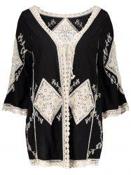 Floral Crochet Insert Embroidered Beach Kimono - BLACK