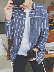 Striped Long Sleeve Denim Shirt
