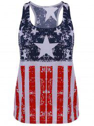 Scoop Neck American Flag Print Patriotic Tank Top - BLUE AND RED