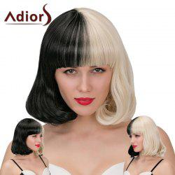 Adiors Neat Bang Short Double Color Slightly Curled Synthetic Wig