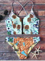 Front Zip Pineapple Print Bikini Set