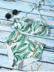 Leaf Printed High Waist Halter Top Bikini Swimwear