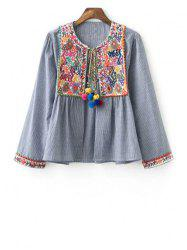 Stylish Round Neck Long Sleeve Ethnic Embroidery Women's Coat - GRAY