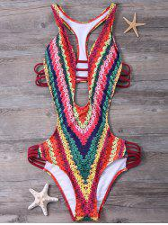 Printed Padded High Cut Monokini One Piece Swimsuit - RED S