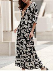 Plunging Neck Lace-Up Printed Maxi Boho Dress