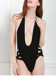 Sexy Style Halter Solid Color Openwork One-Piece Swimwear For Women
