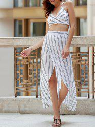 Spaghetti Straps Striped Backless Crop Top -
