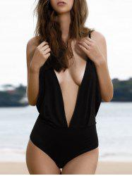Plunging Neck Backless One-Piece Swimwear - BLACK