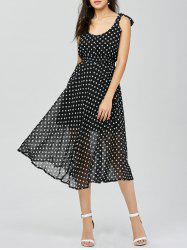 Polka Dot Midi Club Flared Dress - BLACK