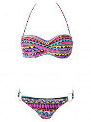 Geometric Print Color Block Bikini Set