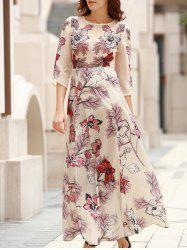 Elegant Round Neck 3/4 Sleeve Floral Print Women's Long Dress