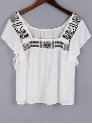 Trendy Square Neck Short Sleeve Embroidery Blouse For Women
