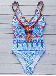 Stylish Cami Argyle Print One-Piece Women's Swimwear