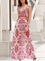 Elegant Bare Midriff Printed Fit and Flare Women's Long Dress