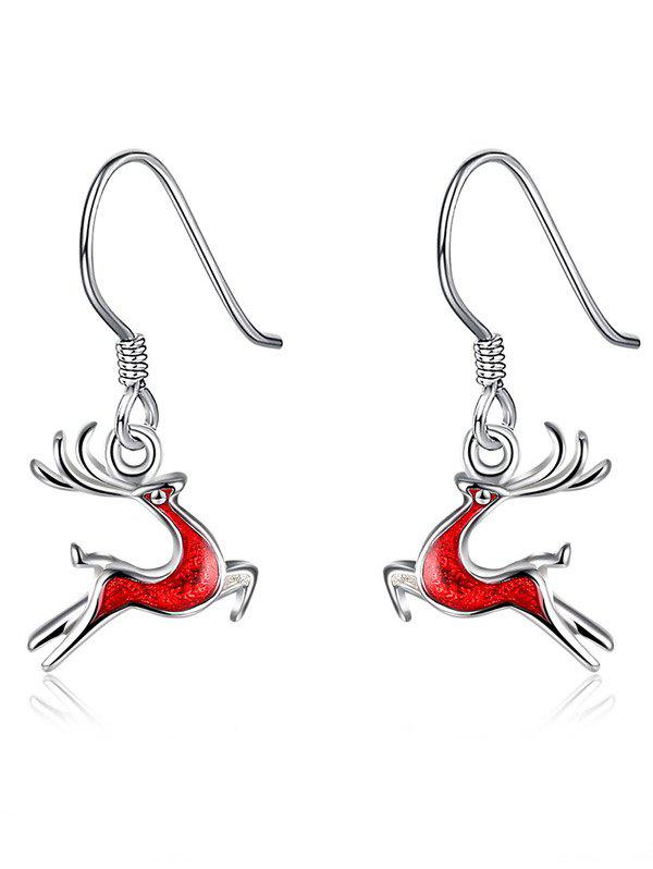 Enamel Christmas Elk Silver Plated EarringsJEWELRY<br><br>Color: RED; Earring Type: Drop Earrings; Gender: For Women; Metal Type: Alloy; Style: Noble and Elegant; Shape/Pattern: Animal; Length: 2.2CM; Weight: 0.0220kg; Package Contents: 1 x Earrings (Pair);