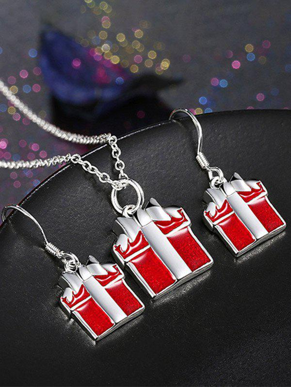 Christmas Gift Enamel Jewelry SetJEWELRY<br><br>Color: RED; Item Type: Pendant Necklace; Gender: For Women; Necklace Type: Link Chain; Metal Type: Alloy; Style: Noble and Elegant; Shape/Pattern: Others; Weight: 0.0320kg; Package Contents: 1 x Necklace 1 x Earrings(Pair);