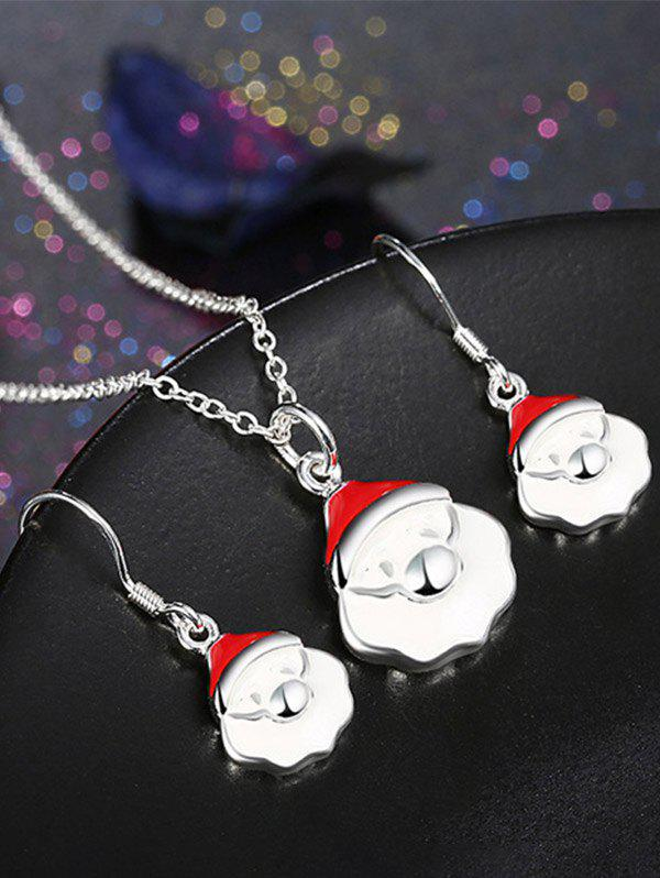 Christmas Santa Claus Polished Jewelry SetJEWELRY<br><br>Color: WHITE; Item Type: Pendant Necklace; Gender: For Women; Necklace Type: Link Chain; Metal Type: Alloy; Style: Noble and Elegant; Shape/Pattern: Others; Weight: 0.0260kg; Package Contents: 1 x Necklace 1 x Earrings(Pair);
