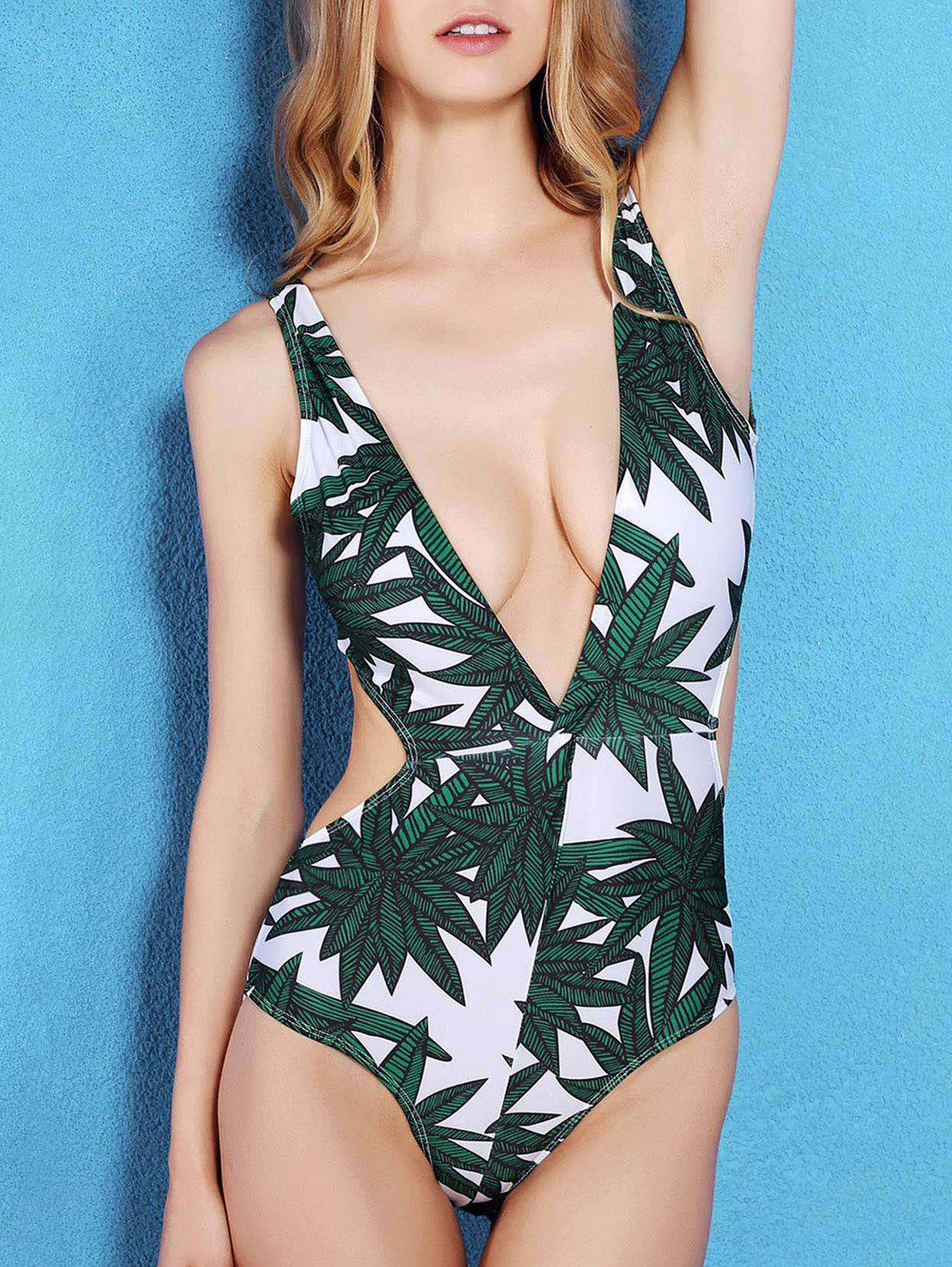 bf6270bbd2ce5 2018 Plunging Neck Bamboo Leaf Print Monokini Swimwear In Green L ...