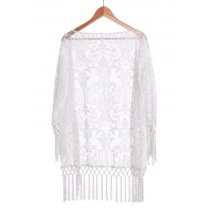 Long Sleeve Tassels Lace Sunscreen Kimono Cover Up Blouse - WHITE M