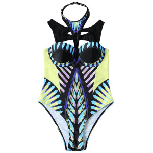 Back Closure Cut Out Printed One-Piece Swimwear -