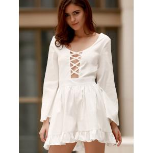Scoop Neck Lace Up Cutout Long Sleeve Romper -