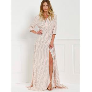 V-Neck Stripe Slit Floor Length Maxi Shirt Dress -