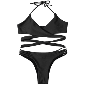 Strappy Halter Neck Wrap Bikini Set - BLACK XL