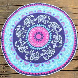 Chiffon Round Beach Throw with Indian Elephant Print - Blue Violet - One Size