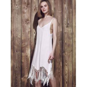 Style sexy Spaghetti Strap Solide Couleur Tassel Splicing Robe sans manches pour les femmes - Blanc S