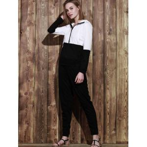 Hooded Color Block Zippered Jacket and Solid Color Pants Twinset - BLACK S