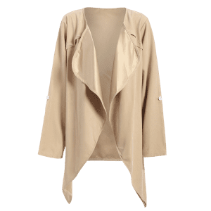 Drape Front Rolled Sleeve Coat - LIGHT KHAKI 2XL