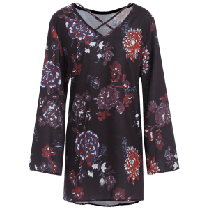 Long Sleeve Floral Boho Tunic Dress - BLACK M