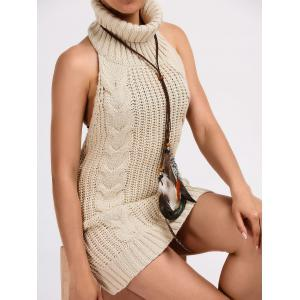 Turtleneck Backless Cable Knit Sleeveless Jumper Dress - LIGHT KHAKI S