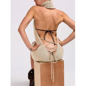 Turtleneck Backless Cable Knit Sleeveless Jumper Dress - Light Khaki - L