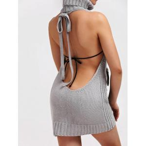 Backless Pull à col roulé Robe tunique