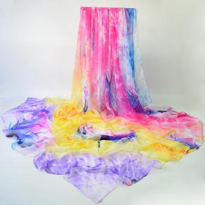 Oil Painting Lotus Flower Ombre Chiffon Scarf