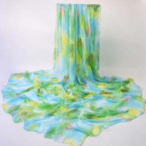 Vivid Maple Leaf Printed Chiffon Scarf