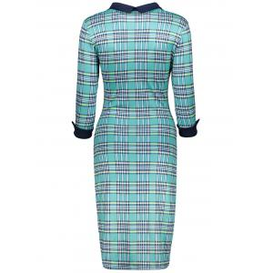 Retro Flat Collar Gingham Sheath Dress -